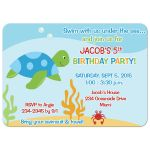 Sea Turtle Under the Sea Birthday Invitation