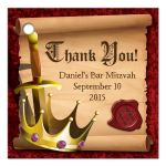 Medieval fantasy knight sword and king crown Bar Mitzvah thank you favor tags front