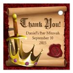 Medieval fantasy knight sword and king crown Bar Mitzvah thank you favor tags back