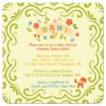 Whimsical woodland fox baby shower invitation