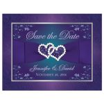 Best teal blue and purple wedding save the date postcard with joined jewel and glitter hearts, ribbon and bow