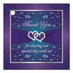 Best teal blue and purple wedding favor gift tag with joined jewel and glitter hearts, ribbon and bow