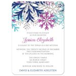 Bat Mitzvah Invitations - Turquoise Navy Orchid Silver Snowflake