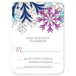 RSVP Reply Cards - Turquoise Navy Orchid Silver Snowflake