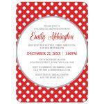 Bridal Shower Invitations - Gray and Red Polka Dot