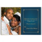 great personalized teal blue and gold wedding thank you card with photo template