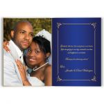great personalized royal blue and gold wedding thank you card with photo template