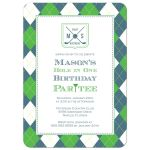 Preppy plaid boy's golf birthday party invitations