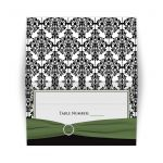 Black and white damask folding place card with green ribbon and jewels