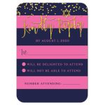 Navy & Pink Stripes Gold Confetti Bat Mitzvah RSVP Cards