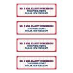 Bar Bat Mitzvah Mailing Labels - Red Blue Pinstripe Baseball Sports Card