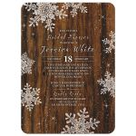 ​Rustic winter snowflake and wood bridal shower invitation front