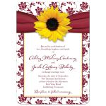 ​Sunflower burgundy ribbon damask floral fall wedding invitation
