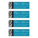 Best black, white, turquoise blue damask return address mailing labels