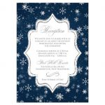 Winter wonderland wedding reception enclosure card in navy blue, white and silver snowflakes and glitter