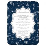 Winter wonderland wedding accommodations enclosure card in navy blue, white and silver snowflakes and glitter