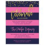 Navy & Pink Stripes Gold Confetti Bat Mitzvah Enclosure Cards