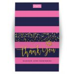 Navy & Pink Stripes Gold Confetti Bat Mitzvah Thank You Cards