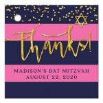 Navy & Pink Stripes Gold Confetti Bat Mitzvah Thank You Favor Tags