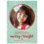 Snowy Merry & Bright Christmas Photo Card