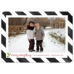 Painted Black & White Stripes Merry Everything Photo Holiday Cards