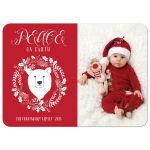 Peace on Earth Bear Wreath Photo Holiday Cards