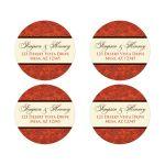 best orange, brown and cream floral wedding favor sticker or return address envelope seal