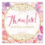 Blissful Blooms Watercolor Floral Personalized Thank You Favor Tags