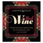 Gold Red & Black Lace  Wedding Wine Label