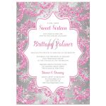 Great winter wonderland sweet sixteen birthday party invitation in pink, silver and white snowflakes and glitter damask