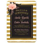 Pink Floral & Gold Stripes Wedding Invitations