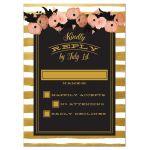 Pink Floral & Gold Stripes Wedding RSVP Cards