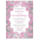 Great winter wonderland Quinceanera birthday party invitation in pink, silver and white snowflakes and glitter damask