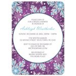 Bridal Shower Invitations - Modern Purple Blue Snowflake