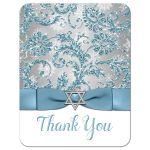 Great bat mitzvah thank you note card in ice blue and silver