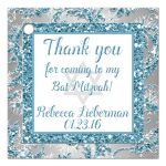 Best personalized blue and silver bat mitzvah favor tag with white snowflakes and glitter