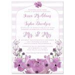 Mrs. & Mrs. Lovely Lavender Flowers & Stripes Wedding Invitations
