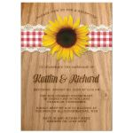 Rustic Gingham & Lace Sunflower Post Wedding Reception Only Invitations