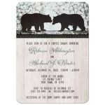 Couples Shower Invitations - Rustic Bear Floral Wood