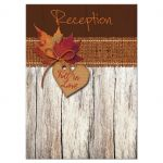 Best rustic autumn wedding reception enclosure card with burlap and leaves