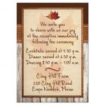 Great burlap and barn wood fall in love wedding enclosure insert cards with leaves