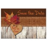 Best rustic autumn wedding save the date postcard with burlap and leaves