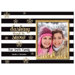 Elegant Gold Snowflake Photo Template Holiday Card
