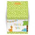 Boy's dinosaur party thank you folded card