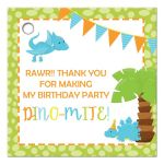 Dinosaur boy birthday party favor gift tags