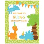 Dinosaur boy birthday party welcome sign