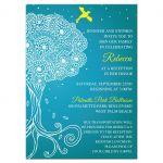 Bat Mitzvah Insert Card - Turquoise Ornate Tree of Life