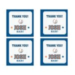 "Bar Bat Mitzvah 2"" Square Stickers - Blue Pinstripe Baseball Sports Card"