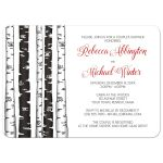 Couples Shower Invitations - Monochrome Birch Tree with Red