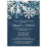 Couples Shower Invitations - Rustic Snowflake Denim Winter